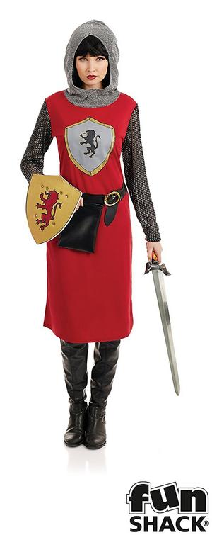 Female Knight Fancy Dress Costume Chainmail Outfit Ladies Womens