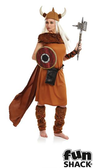 Ladies Womens Viking Fancy Dress Costume Warrior Outfit New
