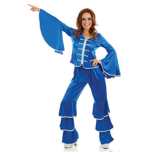 Ladies Blue Dancing Queen Fancy Dress Costume 1970s Party Outfit