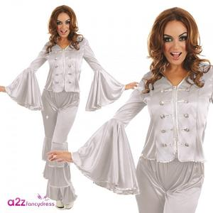 Ladies Womens Silver Dancing Queen Fancy Dress Costume Outfit 70s Retro
