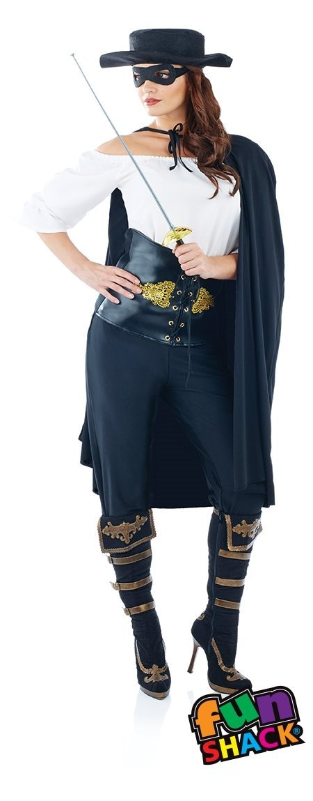Ladies Womens Masked Bandit Fancy Dress Costume Outfit Adult New