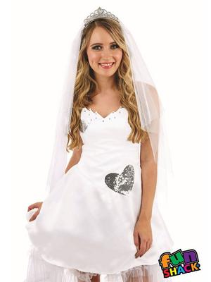 Ladies Womens Sexy Bride Fancy Dress Costume Hen Party Do Outfit New