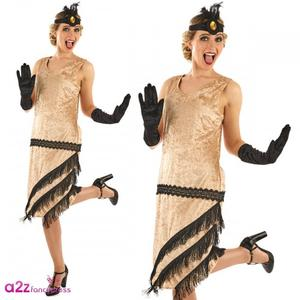 Ladies Womens 20s Charleston Girl Fancy Dress Flapper Dancer Outfit Gold