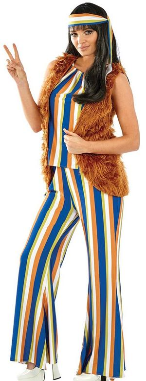 Ladies Womens Hippy Fancy Dress Costume Retro 60s Lady Outfit New