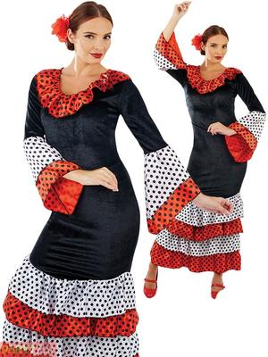 Ladies Womens Flamenco Dancer Fancy Dress Costume Spanish Outfit New