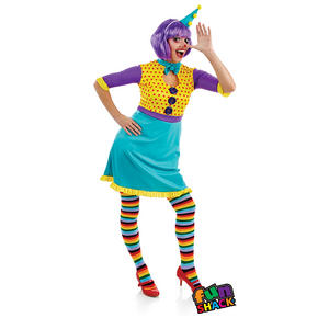 Ladies Clown Girl Fancy Dress Costume Circus Halloween Outfit Adult