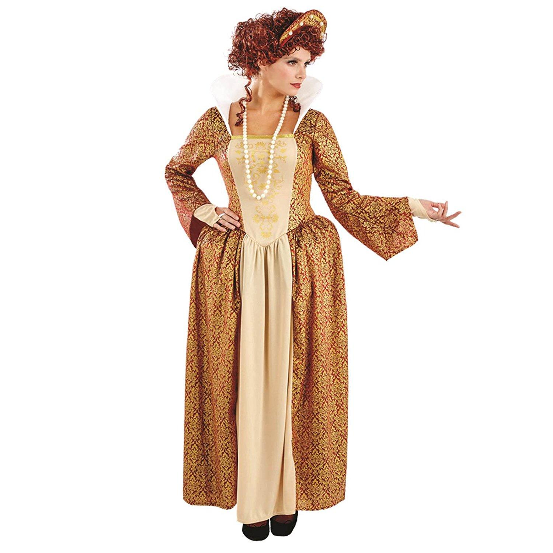 Ladies Womens Golden Tudor Queen Fancy Dress Costume Outfit New