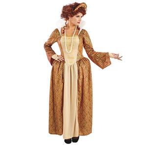 Ladies Womens Golden Tudor Queen Fancy Dress Costume Outfit New