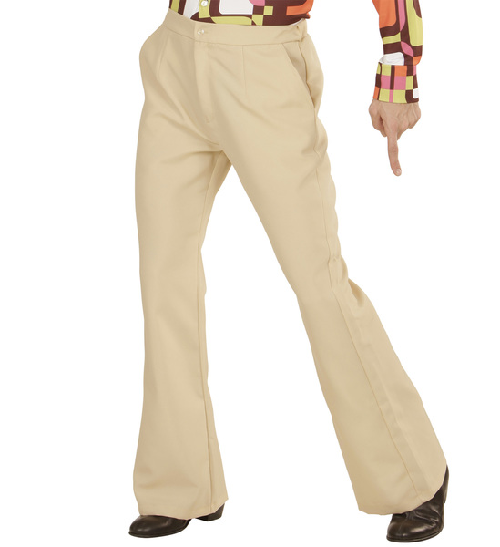 Mens Beige Trousers 70S Flares Fancy Dress Costume 1970S Disco Outfit
