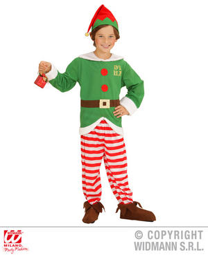 Childs Kids Christmas Elf Fancy Dress Costume Xmas helper Boy Outfit 4-10 Yrs