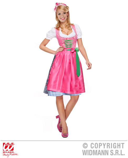 Womens Pink Bavarian Dirndl Oktoberfest Fancy Dress Costume Outfit UK 8-20 Adult