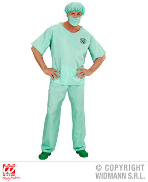 A & E Doctor Mens Male Fancy Dress Costume Scrubs Hospital Outfit S-XL Adult