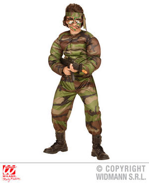 Boys Kids Childs Camo Rambo Soldier Fancy Dress Costume Army Outfit 5-10 Yrs