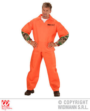 Mens Males Tattooed Convict Fancy Dress Costume Priosoner Outfit S-XL Adult