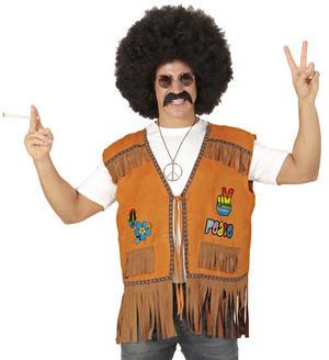 Mens Male Hippie Peace Vest Fancy Dress Costume 1970S Hippy Outfit Adult