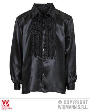 Mens Black Satin Ruffle Shirt 1970S Fancy Dress Costume Latino Salsa Outfit