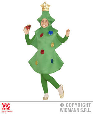 Childs Kids Christmas Tree Fancy Dress Costume Xmas Outfit Childrens 5-13 Yrs