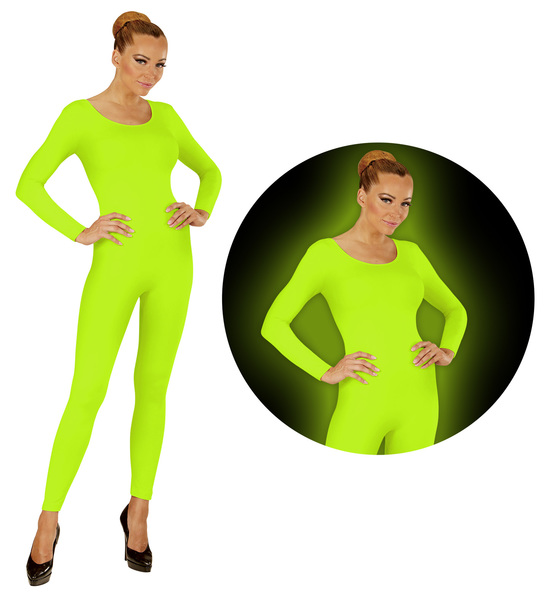 Womens Ladies Neon Green Bodysuit Fancy Dress Costume 80S Rave Outfit UK10-20