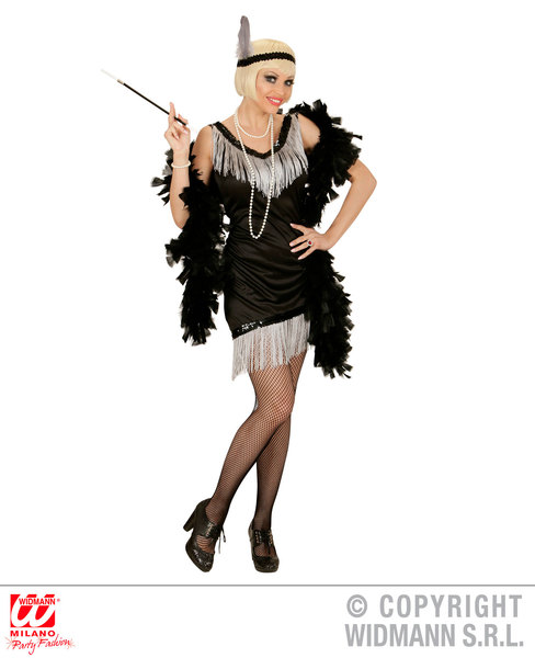 Womens Ladies Black Flapper Girl Fancy Dress Costume Charleston 1920S Outfit