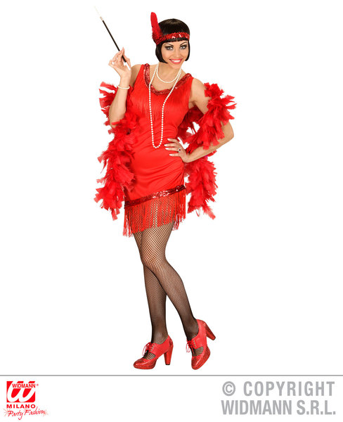 Womens Ladies Red Flapper Girl Fancy Dress Costume Charleston 1920S Outfit