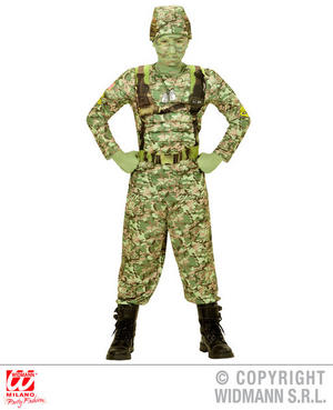 Boys Kids Childs Camo Soldier Fancy Dress Costume Military Army Outfit 5-13 Yrs