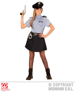 Childs Kids Girls Police Officer Fancy Dress Costume Copper Outfit 4-13 Yrs