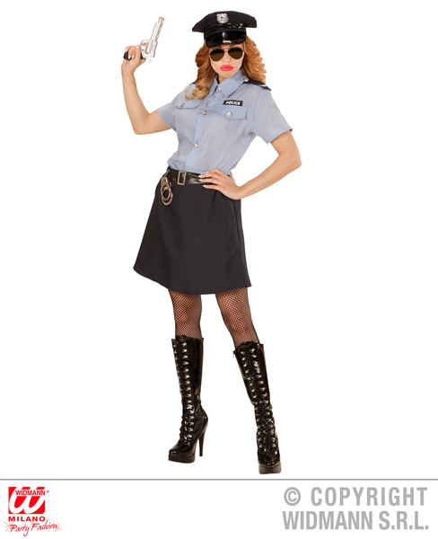 Womens Ladies Police Officer Fancy Dress Costume Cops & Robbers Outfit Adult