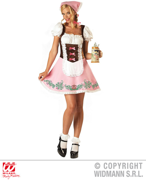 Womens Ladies Pink Bavarian Girl German Fancy Dress Costume Oktoberfest Outfit