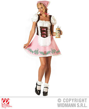 Womens Ladies Pink Bavarian Girl German Fancy Dress Costume Oktoberfest Outfit