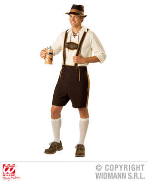 Mens Bavarian Lederhosen German Oktoberfest Fancy Dress Costume Outfit Adult