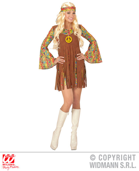 Womens Ladies Hippie Girl Fancy Dress Costume 1970S Peace Hippy Outfit Adult