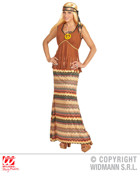 Womens Ladies Hippie Woman Fancy Dress Costume 1970S Hippy Outfit Adult