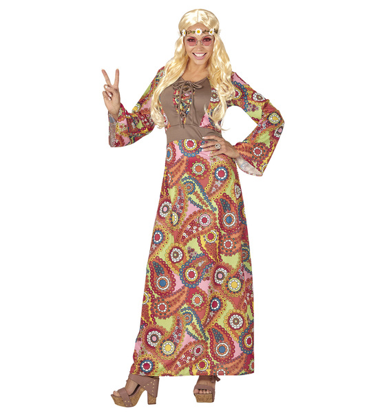 Womens Ladies Funky Hippie Fancy Dress Costume 1970S Hippy Peace Outfit Adult