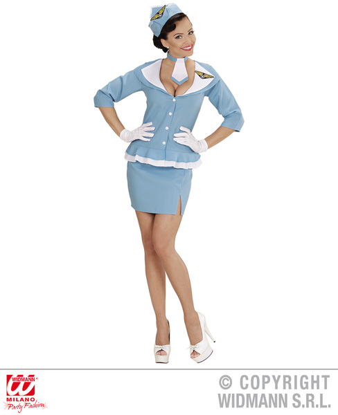 Womens Ladies Retro Blue Sexy Air Hostess Fancy Dress Costume Outfit Adult