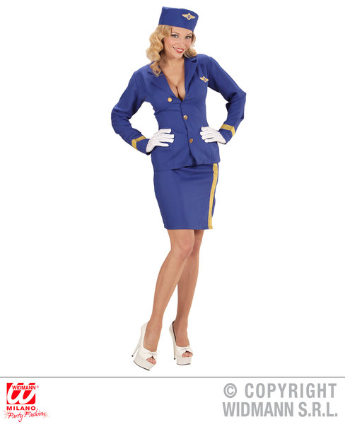Womens Ladies Dark Blue Air Hostess Fancy Dress Costume Outfit Adult