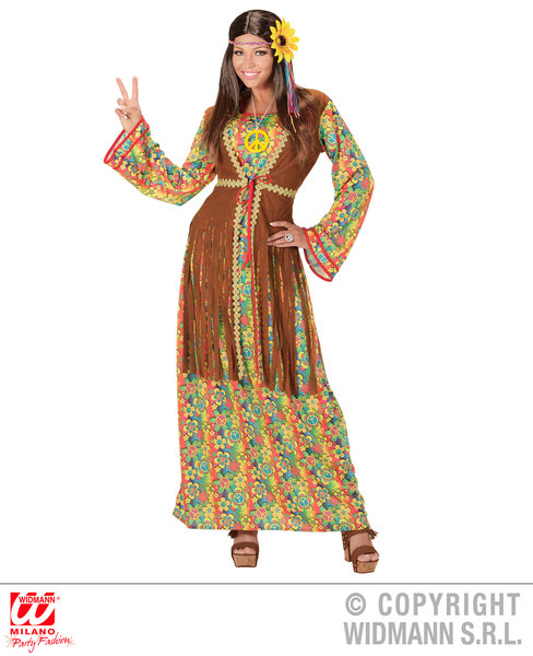 Womens Ladies Hippie 1970s Fancy Dress Costume Hippy Outfit Adult