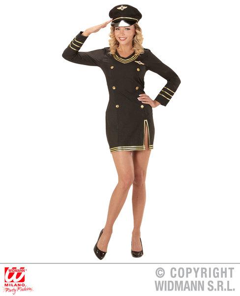 Womens Ladies Captain Airline Pilot Fancy Dress Costume Outfit Adult