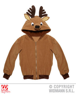 Mens Reindeer Hoodie Sweatshirt Rudolph Christmas Fancy Dress Costume Outfit
