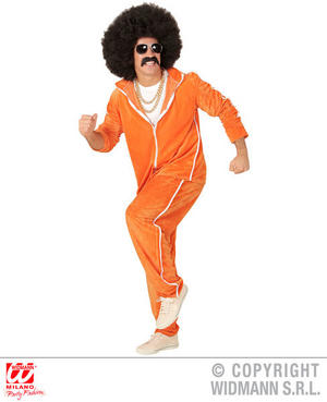Mens Orange Retro 1980S Chenille Tracksuit 80S Fancy Dress Costume Pimp Outfit