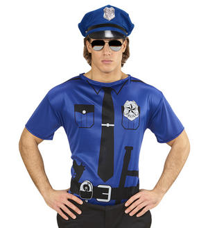 Mens Blue Police Officer T-Shirt Cops & Robbers Fancy Dress Costume Outfit Adult