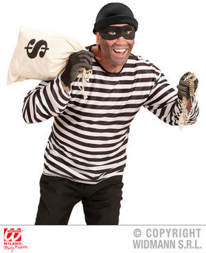 Men Striped Thief T Shirt Cops & Robbers Fancy Dress Costume Outfit Adult