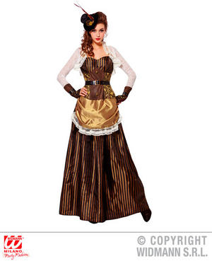 Womens Ladies Steampunk Lady Fancy Dress Costume Victorina Era Outfit Adult