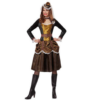 Womens Ladies Steampunk Girl Fancy Dress Costume Victorian Outfit Adult