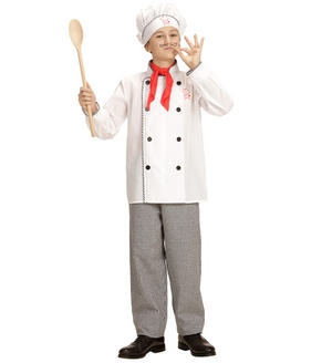 Childs Kids Boys Mr Chef Fancy Dress Costume Head Cook Outfit Childrens 1-13 Yrs
