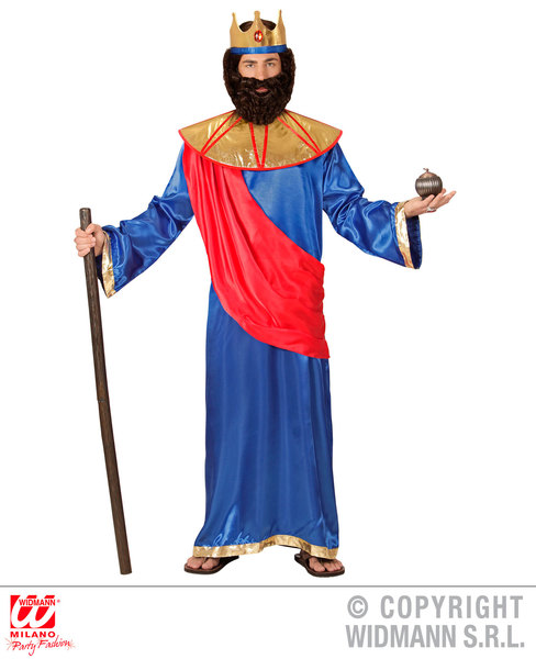 Mens Male Blue Nativity King Royal Fancy Dress Costume Christmas Outfit Adult