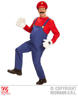 Mens Super Plumber Mario Fancy Dress Costume Retro Comptuer Game Outfit Adult