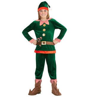 Childs Green Elf Fancy Dress Costume Christmas Santas Helper Outfit 4-13 Yrs