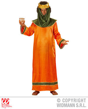 Mens Orange Christmas Nativity King Fancy Dress Costume Religious Outfit Adult
