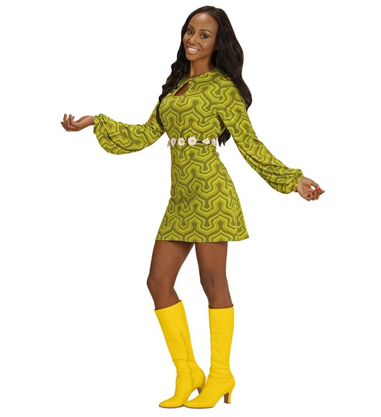 Womens Ladies Green Retro Wallpaper Print Fancy Dress Costume 1970S Outfit Adult