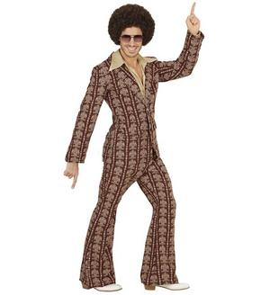 Mens Brown Retro 70s Suit Fancy Dress Costume Night Fever 1970S Outfit Adult